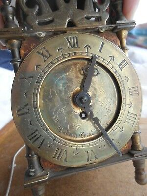 VINTAGE smiths england BRASS DOME 8 DAY CARRIAGE MECHANICAL CLOCK