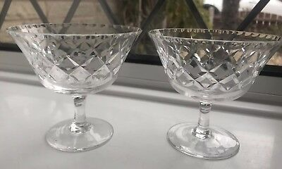 2 Vintage Crystal Cut Champagne Saucers Pall Mall Style Glasses