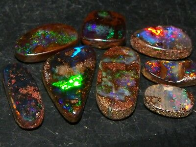 Nice Small Boulder Opal Cabs/Freeforms 15.5cts Queensland Australia. NR Fires