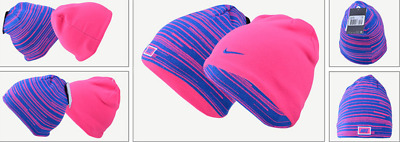 Unisex Youth Junior Nike Reversible Beanie Hat Pink/blue