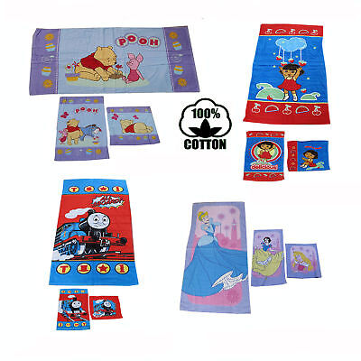 3 Pce 100% Cotton Kids Licensed Beach Bath Towel + Hand Towel + Face Washer