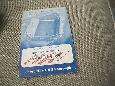 SHEFFIELD WEDNESDAY v SWANSEA TOWN 9/1/62, FA CUP 3RD RD