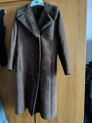 Ladies, Women, Sheepskin Coat, Full length, Retro Kitsch, Vintage, Size 8-12