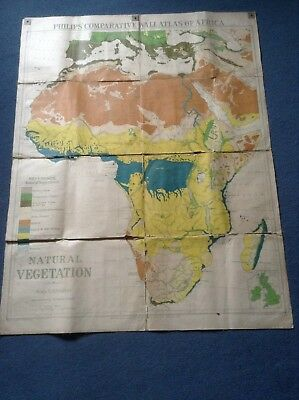 Original 1920s PHILIPS COMPARATIVE WALL ATLAS OF AFRICA - Large cloth backed map