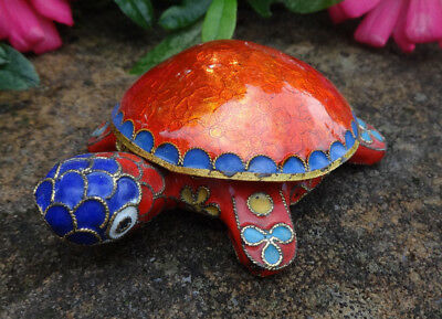 Glossy, Bright Red Enameled Cloisonne TURTLE Open Salt Dip, Cellar, Dish w/Lid!