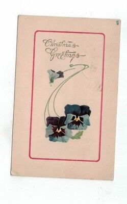 Antique Tuck Embossed Christmas Post Card Connoisseur Series Blue Pansies