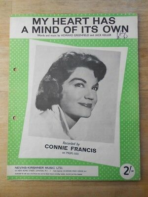 Connie Francis  - My Heart Has A Mind Of Its Own sheet music - original vintage