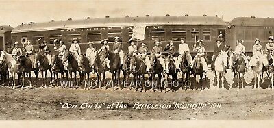 1911 Cowgirls at the Pendleton Roundup Vintage Panoramic Reprint Photo