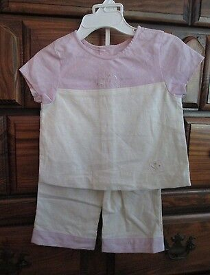 CHELSEA'S CORNER Girls 2pc Ivory/Lilac Embroidered Top/Pants Set sz 24 mos NWT