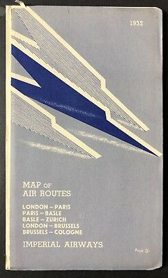 1932 Imperial Airways Air Routes Map. 24 panel-fold out Interesting historical I