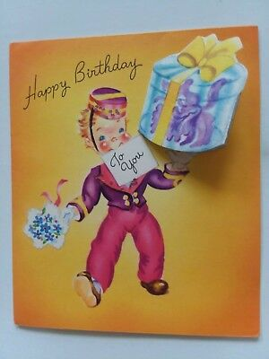 Messenger BOY Delivers ORCHID Corsage Vtg Doehla Fine Art BIRTHDAY GREETING CARD