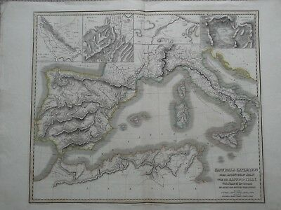 Hannibals Expedition.spain. Alps. Italy. Thomson Classical Historical Atlas 1820