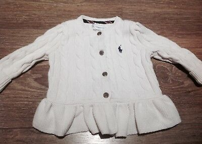 Girls Ralph Lauren Baby Cream Cardigan Age 9-12 Months Cable Knit