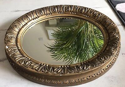 Lovely Antique Oval Gilded Gesso Mirror Decorative Frame