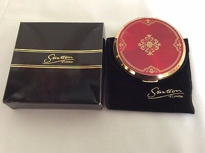 Stratton Vintage Xmas Red & Gold Powder Compact In Velvet Pouch & Box Brand New