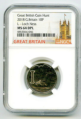 2018 10P Great Britain ' L '- Loch Ness Monster Ngc Ms64 Dpl British Coin Hunt