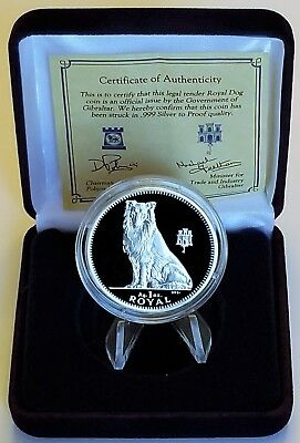 1995 Gibraltar Collie Dog Silver Proof One Crown .999 Troy Oz
