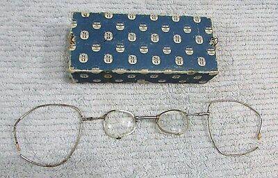 Rare unknown unusual old antique medical scientific eyeglasses large ear FREE SH