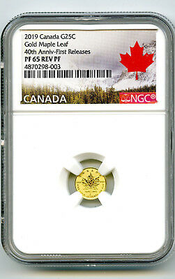 2019 Canada G25C Gold 40Th Annv Maple Leaf Ngc Pf65 Reverse Proof First Releases