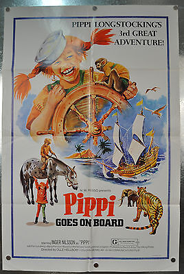 Pippi Goes On Board Original SS One Sheet Movie Poster 1975 27 x 40