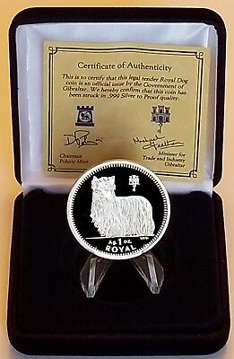 1997 Gibraltar Yorkshire Terrier Dog Silver Proof One Crown .999 Troy Oz