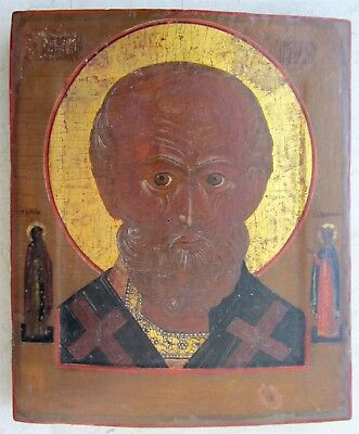 18th-19th CENTURY ANTIQUE RUSSIAN ICON of ST.NICHOLAS of MYRA