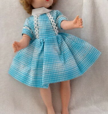 """1950s Vintage12"""" Alexander Lissy Turqioise Plaid Day Dress Doll Clothes"""