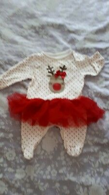 Baby Grow With Reindeer Motif & Attatched Tutu Age 0-3 Mths *cute*
