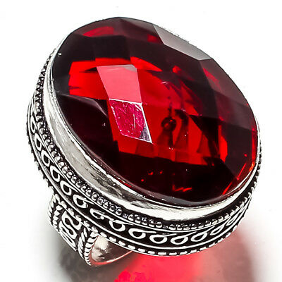 Faceted Red Garnet Gemstone 925 Sterling Silver Jewelry Ring 7