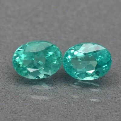 Pair 2pcs/1.69ct t.w Oval Natural Unheated Paraiba-Color Neon Blue Green Apatite