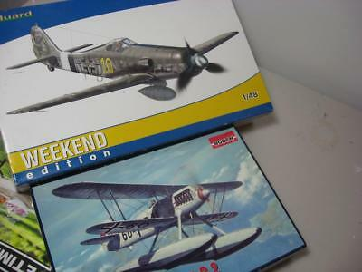 Eduard FW 190 & Heinkel He 51 1/48 Model kits job lot perfect condition