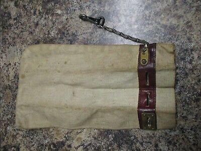 Antique gold bullion or coin bag w. leather and brass locking chain