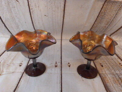 Lovely Pair Of Antique Vintage Carnival Glass Bon Bon Dishes.