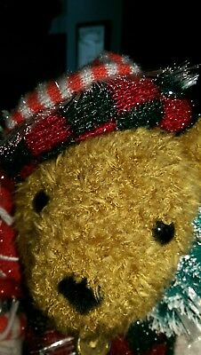 Christmas Sparkling Holiday Fiber Optic Teddy Bear Color Changing 2003 Avon