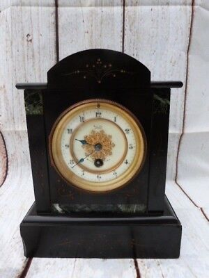 Lovely Antique French Slate & Marble Mantel Clock.marked Maine Jersey.