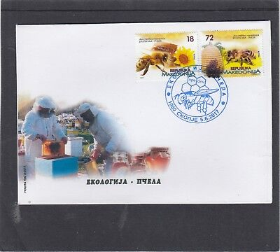 Macedonia 2017 Bees First Day Cover FDC Ckonje pictorial h/s