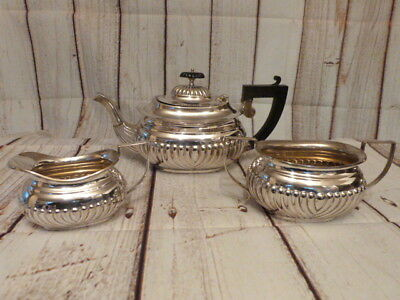 Lovely Antique Vintage Silver Plate Three Piece Tea Service.