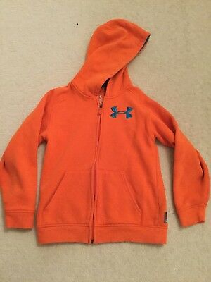 UNDER ARMOUR Storm Hoodie Jacket Boys Zip Sweatshirt Orange Size YSM.