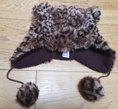 Girls Monsoon Animal Print Faux Fur Winter Trapper Style Hat 6-13 years