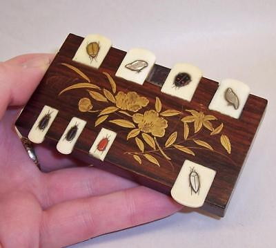 Antique BRIDGE/WHIST MARKER Inlaid INSECTS/BIRDS Mother of Pearl AGATE Rosewood