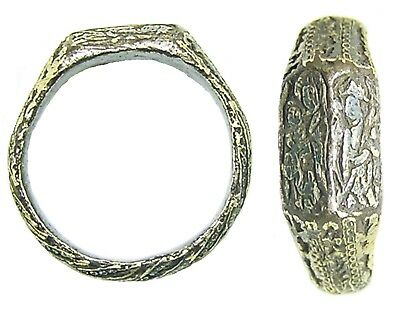Rare 15th century Medieval Silver-gilt Iconographic Ring Holy Family Mary & Anne