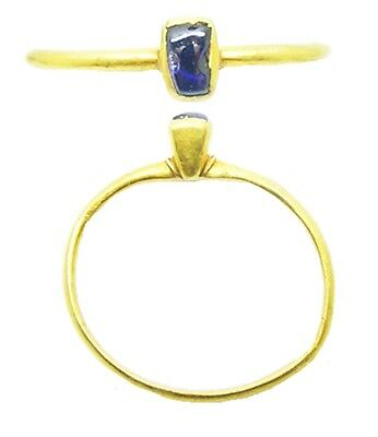 Wonderful 13th century Medieval Gold & Sapphire Finger Ring Size 6 1/2