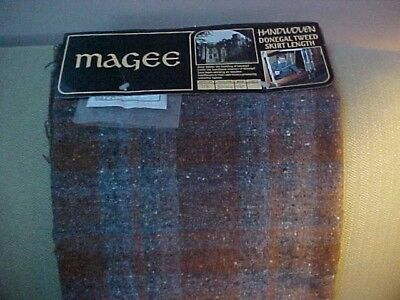 "Magee Handwoven Donegal Tweed Skirt Length Fabric 7/8 YD 56 "" width NEW signed"