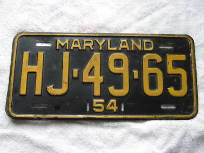 1954 Maryland  License Plate