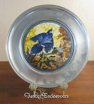 US Historical Society Pewter & Stained Glass Plate James Audubon Blue Jay