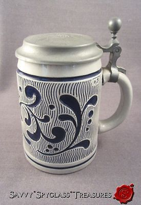 Wick Werke Cobalt Decorated German Salt Glazed Stoneware Stein Pewter Lid