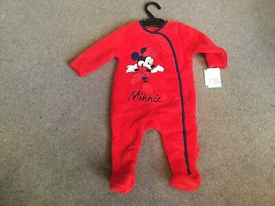 Mothercare Baby Girls Fleece Minnie Mouse Babygrow. BNWT. 3-6 Months.