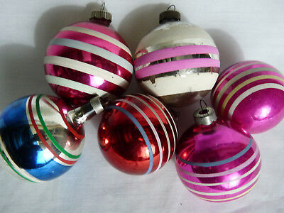 6 Vintage Striped 1950's Christmas Ornaments