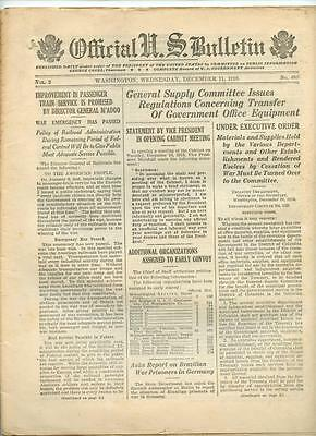 WWI Official US Bulletin Daily Newspaper December 11 1918 Casualty Lists