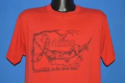 vintage 80s MAINE MOOSE LIFE IN THE SLOW LANE HAMMOCK FUNNY RED t-shirt LARGE L